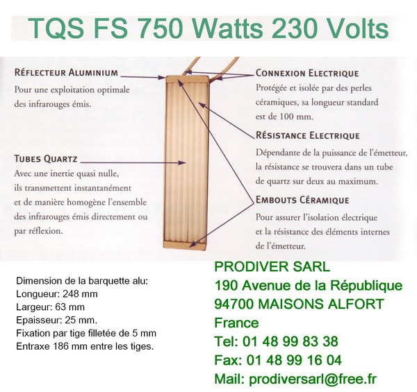 TQS FS750 Elément Radiant Infrarouge Quartz 230V